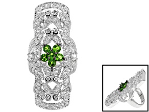 Green Russian Chrome Diopside And White Zircon Sterling Silver Ring 1.89ctw