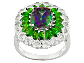 Mystic Fire® Green Mystic Topaz® Rhodium Over Sterling Silver Ring 6.55ctw