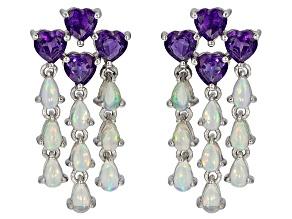 Purple amethyst rhodium over sterling silver earrings 5.72ctw