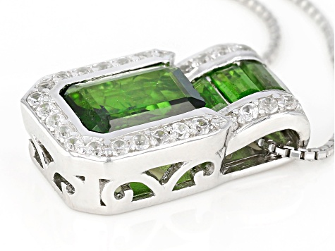 Green Chrome Diopside Sterling Silver Pendant With Chain 2.30ctw