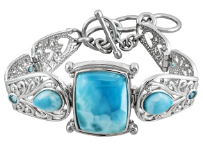 Blue Larimar Sterling Silver Adjustable Bracelet .49ctw