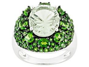 Green Brazilian Prasiolite Sterling Silver Ring 6.75ctw