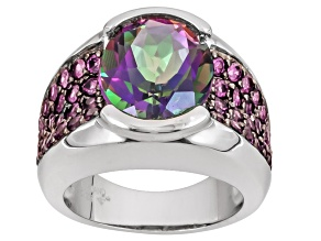 Mystic Fire Green® Topaz Sterling Silver Ring 6.46ctw