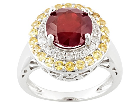 Mahaleo Ruby Sterling Silver Ring 4.26ctw