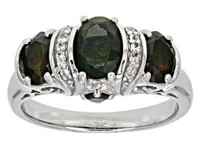 Black Ethiopian Opal, Black Spinel And White Zircon Sterling Silver 3-Stone Ring .71ctw