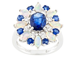 Blue Nepalese Kyanite, Ethiopian Opal And White Zircon Sterling Silver Ring 3.27ctw