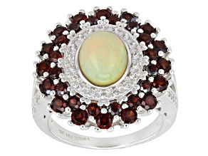 Multicolor Ethiopian Opal Sterling Silver Ring 3.44ctw