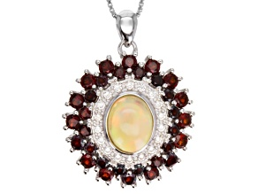 Multicolor Ethiopian Opal Sterling Silver Pendant With Chain 3.39ctw
