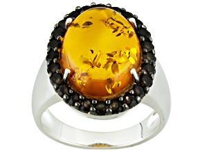 Orange Polish Amber Sterling Silver Ring .61ctw