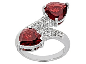 Red Garnet Sterling Silver Bypass Ring 3.67ctw