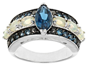London Blue Topaz rhodium over sterling silver ring 2.25ctw