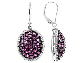 Purple Rhodolite Rhodium Over Silver Earrings 5.33ctw