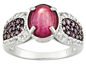 Mahaleo Ruby Sterling Silver Ring 3.59ctw