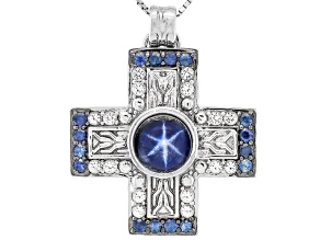 Blue star sapphire rhodium over sterling silver pendant with chain 4.25ctw
