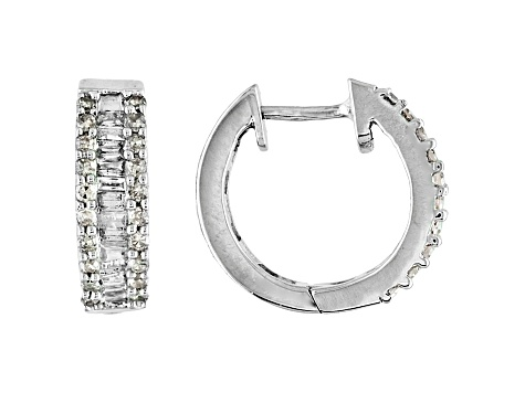 50ctw Genuine Diamond 925 Sterling Silver Huggie Hoop Earrings
