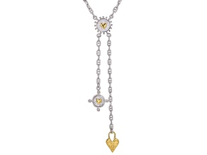 "White Zircon Rhodium And 18k Gold Over Silver ""Love So Great"" Drop Necklace 0.02ctw"