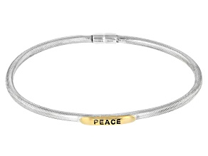 """Rhodium And 18k Gold Over Silver """"Peace"""" Bangle Bracelet"""