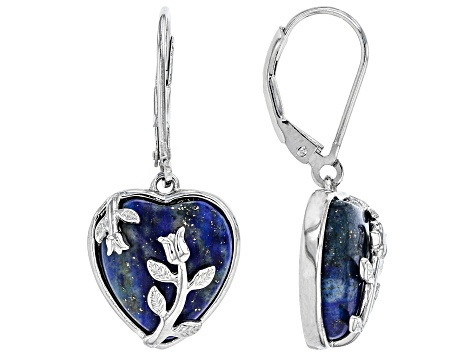 Blue lapis lazuli Sterling Silver dangle Earrings