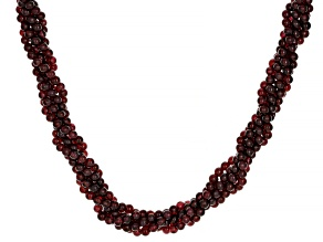 Red garnet Bead Sterling Silver Torsade Necklace 270.00ctw