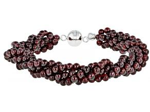 Round Red Garnet Bead Sterling Silver Torsade Bracelet 135.00ctw