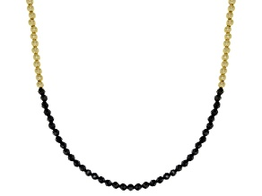 Black Spinel 18k Yellow Gold Over Sterling Silver Bead Necklace