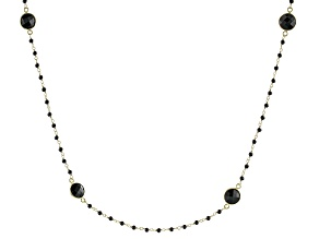 Black Spinel 18k Yellow Gold Over Sterling Silver Necklace 26.00ctw