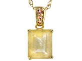 Golden rutilated quartz 18k yellow gold over  silver pendant with chain 4.74ctw