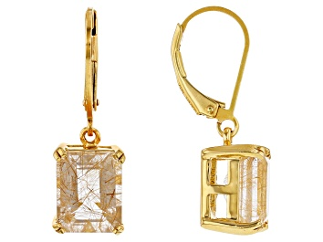 Picture of Golden Rutilated Quartz 18k Yellow Gold Over Sterling Silver Dangle Earrings 4.84ctw