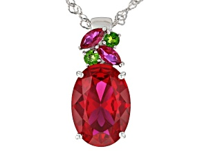 Red Lab Created Ruby Rhodium Over Sterling Silver Pendant with Chain 5.88ctw