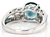 Teal Fluorite Rhodium Over Silver Ring 2.99ctw