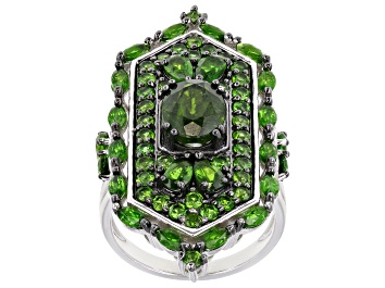 Picture of Green Chrome Diopside Rhodium Over Silver Ring 5.36ctw