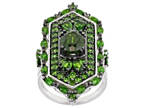 Green Chrome Diopside Rhodium Over Silver Ring 5.36ctw