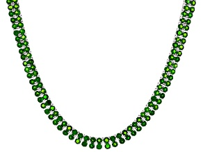 Green Chrome Diopside Rhodium Over Silver Necklace 34.26ctw
