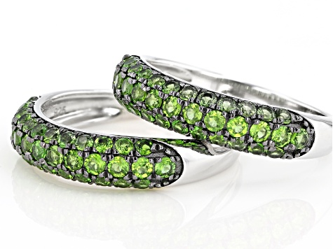 Green Chrome Diopside Rhodium Over Silver Set of 2 Rings 2.11ctw