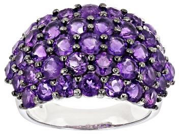 Picture of Purple Amethyst Rhodium Over Silver Band Ring 5.76ctw
