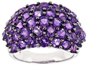 Purple Amethyst Rhodium Over Silver Band Ring 5.76ctw