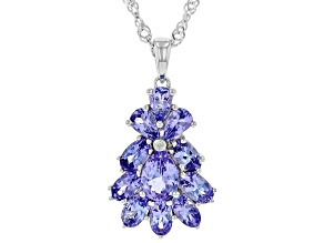 Blue tanzanite rhodium over silver pendant with chain 2.36ctw