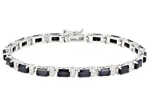 Blue Sapphire Rhodium Over Silver Bracelet 12.38ctw