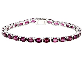 Purple Raspberry Color Rhodolite Rhodium Over Silver Bracelet 15.30ctw