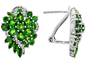 Green chrome diopside rhodium over sterling silver Earrings 4.49ctw