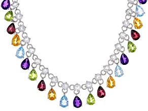 Multi-Color Gemstone Rhodium Over Silver Necklace 29.04ctw
