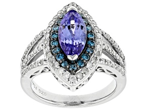 Blue Tanzanite Rhodium Over Silver Ring 2.56ctw