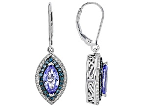 Blue Tanzanite Rhodium Over Silver Earrings 2.72ctw