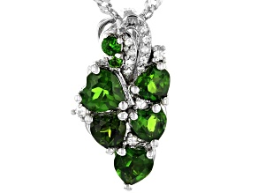 Green Russian Chrome Diopside Rhodium Over Sterling Silver Pendant with Chain 1.37ctw