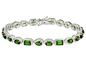 Green Chrome Diopside Rhodium Over Silver Bracelet 11.47ctw