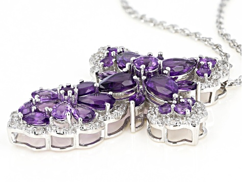 Purple Amethyst Rhodium Over Silver Pendant With Chain 11.89ctw