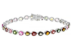 Multi-Tourmaline Rhodium Over Sterling Silver Tennis Bracelet 6.65ctw