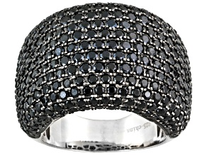 Black Spinel Rhodium Over Sterling Silver Band Ring 3.57ctw