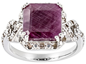 Red Indian Ruby Rhodium Over Silver Ring 6.21ctw