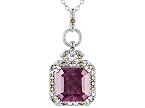 Red Indian Ruby Rhodium Over Silver Pendant With Chain 6.20ctw